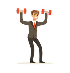 Smiling businessman in a suit easily lifting two vector