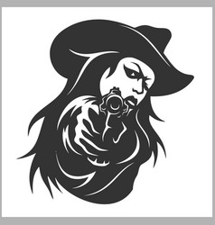 Western girl with revolver vector