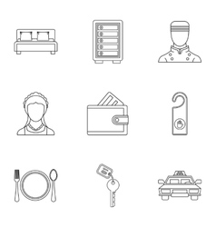 Hotel accommodation icons set outline style vector
