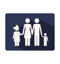 Color silhouette frame with family nucleus vector