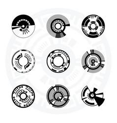 set of futuristic sci-fi circles vector image