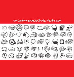 Doodle speech clouds icons set vector