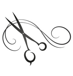 scissors and hair sign for beauty salon vector image