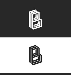 Letter b logo isometric lines geometric shape vector