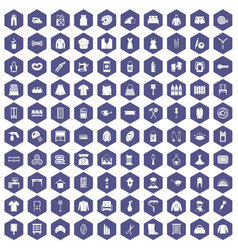 100 needlework icons hexagon purple vector