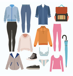 lady fashion set of autumn season outfit stylish vector image