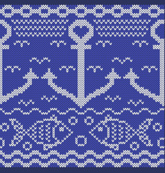 Knitted seamless pattern with anchors and fishes vector