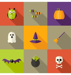 Halloween Squared Flat Icons Set 2 vector image