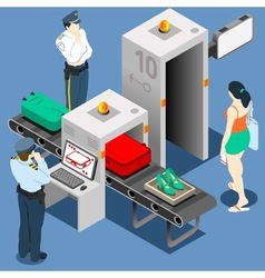 Isometric Security Checkpoint Machine vector image