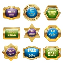 Golden sale badges vector