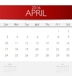 2016 calendar monthly calendar template for april vector