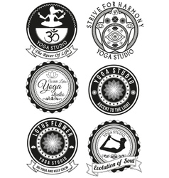 Set of black badges for yoga studio vector