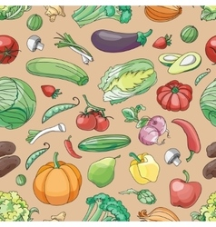 Doodle pattern of vegetables vector