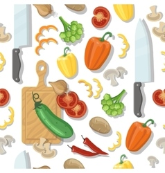 Cutting board and vegetables seamless vector