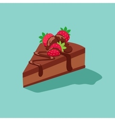 Piece of chocolate cake with strawberries vector