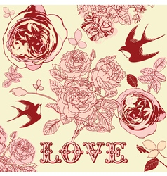 Vintage floral love pattern background vector