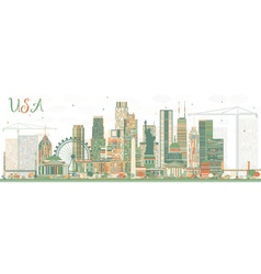 Abstract usa skyline with color skyscrapers vector