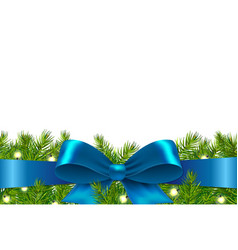Blue ribbon with fir tree vector