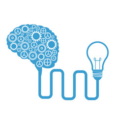 Brain gears connected bulb creativity vector