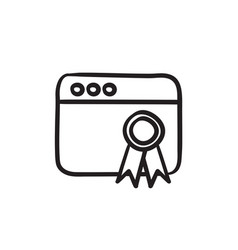 Browser window with winners rosette sketch icon vector