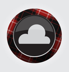 Button with red black tartan - cloud cloudy icon vector