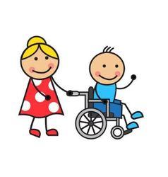 Cartoon man on a wheelchair vector