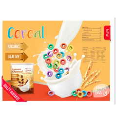 Cereal with milk dising template vector