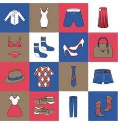 Clothes icons set flat line vector
