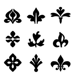 decorative floral elements black for design vector image