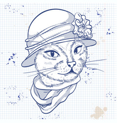 elegant woman with cats head vector image vector image