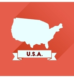 Flat icon with long shadow united states map vector image