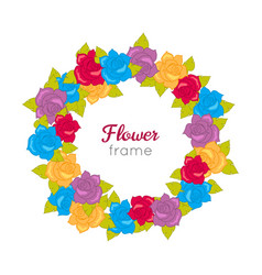 Flower frame circle wreath of various blossoms vector