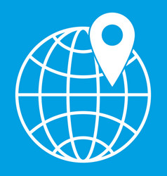 Globe with pin icon white vector