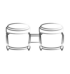 Isolated bongo drum outline musical instrument vector