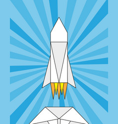 Launch of a paper rocket origami vector
