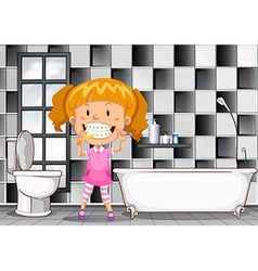 Little girl brushing teeth in bathroom vector
