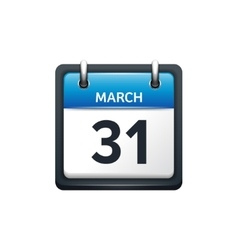 March 31 Calendar icon flat vector image