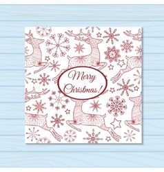 Merry christmas card with deers on wooden vector image vector image