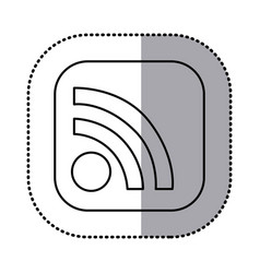 monochrome contour with square sticker of wifi vector image vector image