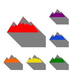 Mountain sign set of red orange vector