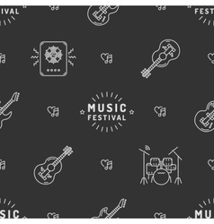 Music seamless pattern rock festival minimal vector