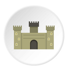 Old fortress towers icon circle vector