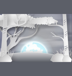 Paper art of lanscape snow with fullmoon vector