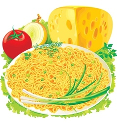 Plate of spaghetti with vegetables vector image vector image