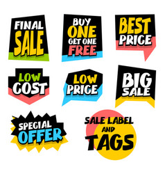 Sale super big collection label best price vector