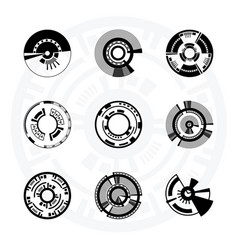 set of futuristic sci-fi circles vector image