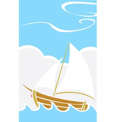 Simple Boat at Sea vector image