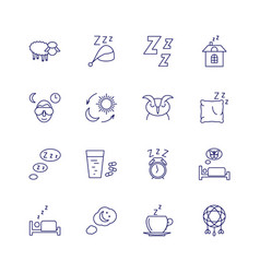 sleeping icons isolated on white background relax vector image