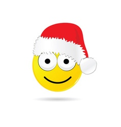 smiley yellow with christmas hat vector image