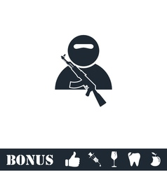 Soldier icon flat vector